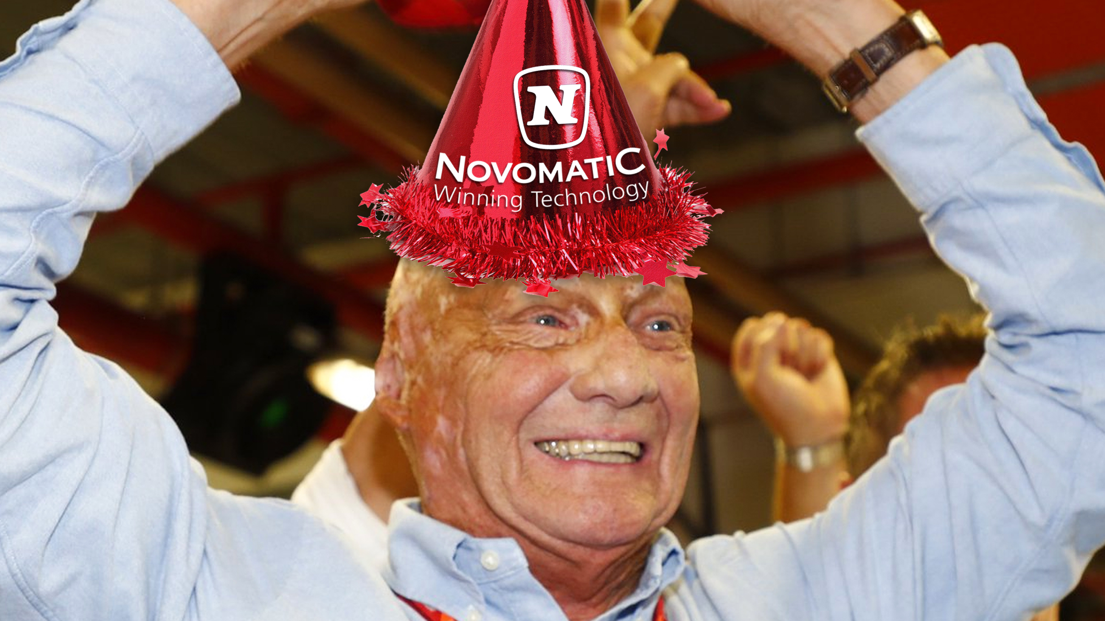 Niki Lauda Wears Sponsors Party Hat