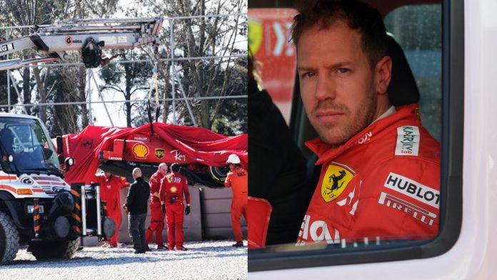 Vettel F1 Testing Crash